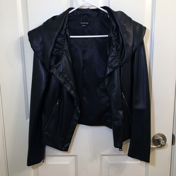 bebe Jackets & Blazers - BEBE Leather Jacket — Black Vegan Leather Jacket